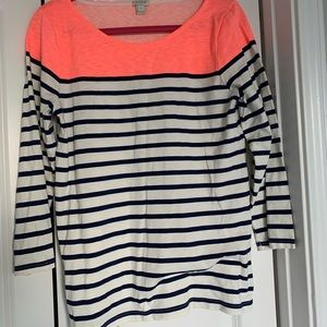 J. Crew Neon Pink Navy Stripe Top